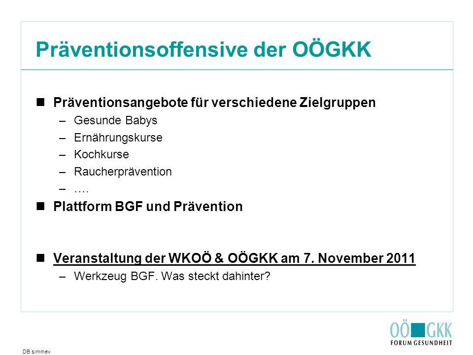 Präventionsoffensive der OÖGKK Präventionsangebote für verschiedene Zielgruppen –Gesunde Babys –Ernährungskurse –Kochkurse –Raucherprävention –….
