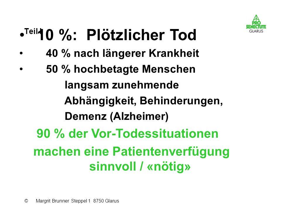 Teil I 10 %: Plötzlicher Tod 40 % nach längerer Krankheit 50 % hochbetagte Menschen langsam zunehmende Abhängigkeit, Behinderungen, Demenz (Alzheimer)