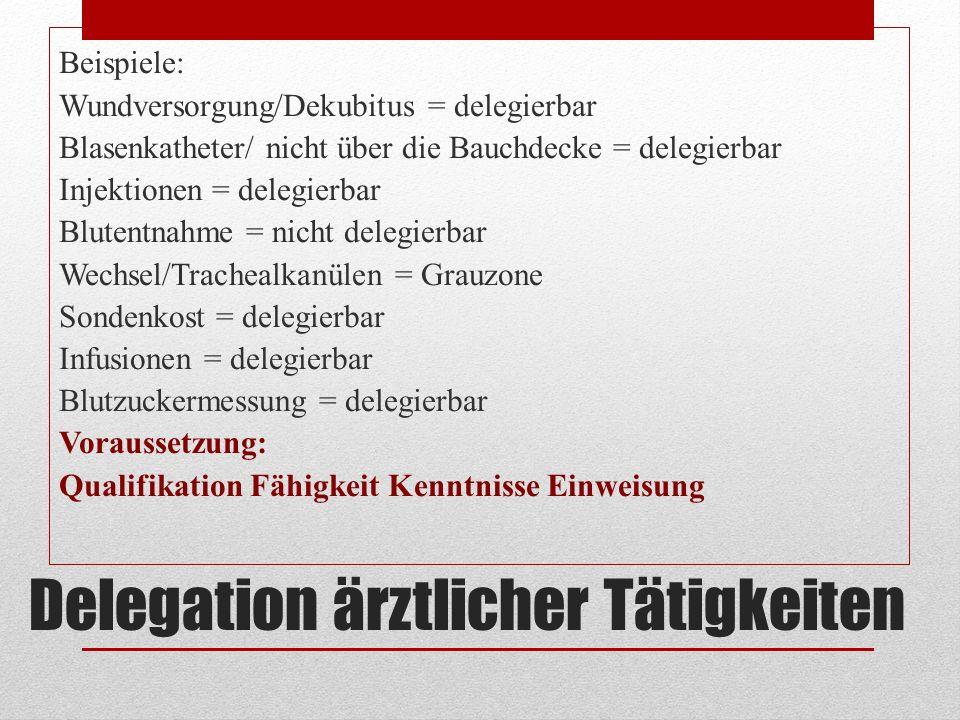 Delegation ärztlicher Tätigkeiten Beispiele: Wundversorgung/Dekubitus = delegierbar Blasenkatheter/ nicht über die Bauchdecke = delegierbar Injektione