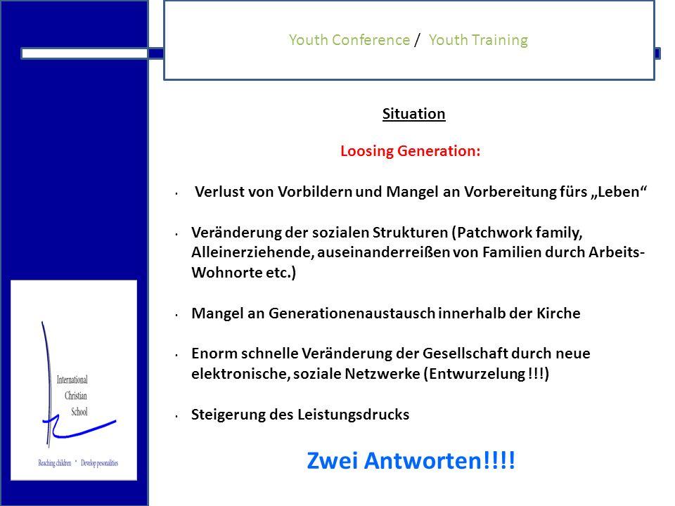 18.12.2009 Jungendbildungkonzept Erste Antwort: Konferenzkonzept Dauer: Eine Woche Zielsetzung: fehlende Kompetenzen in z.B.