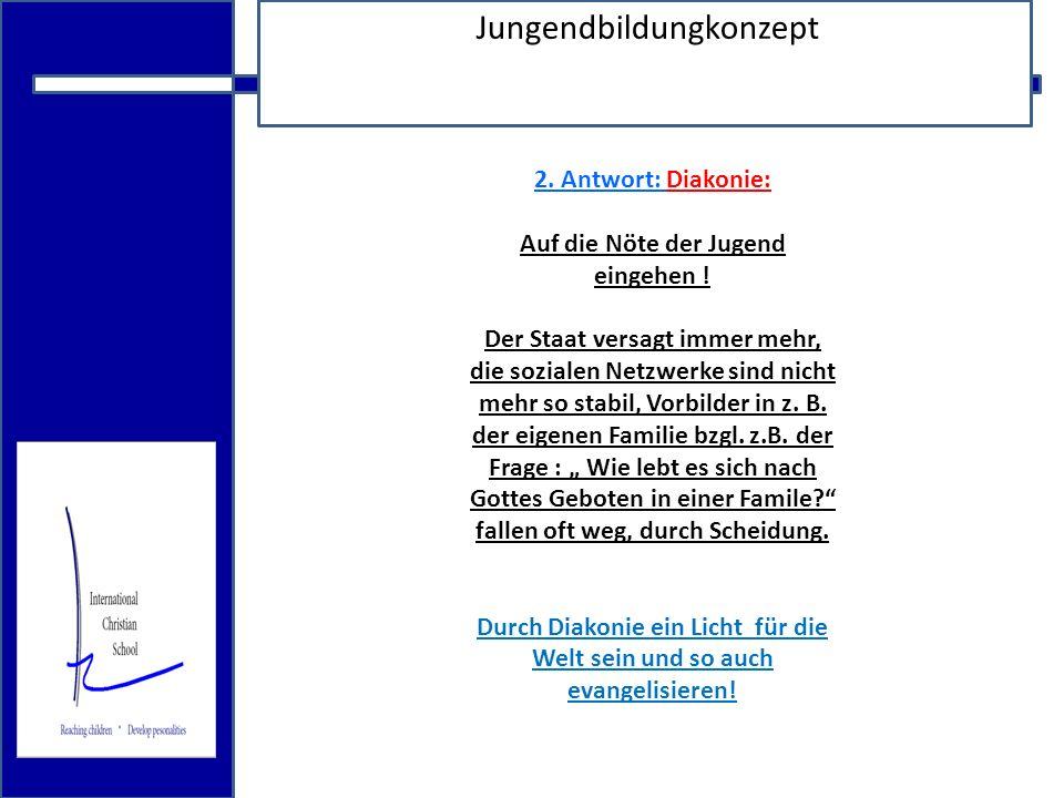 18.12.2009 Jungendbildungkonzept 2. Antwort: Diakonie: Auf die Nöte der Jugend eingehen .