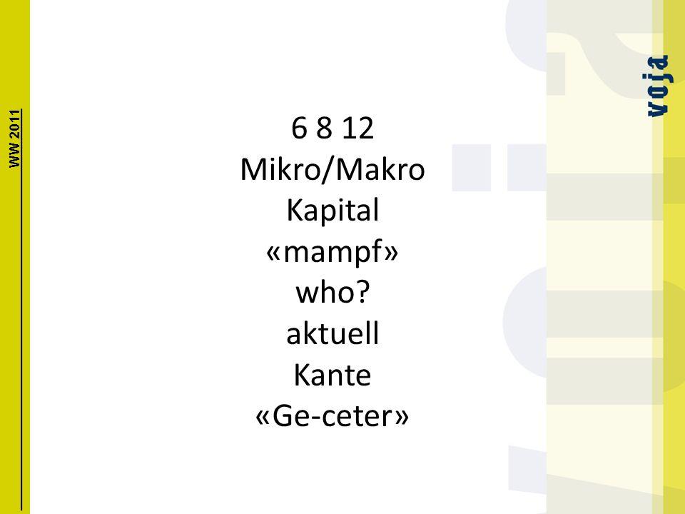6 8 12 Mikro/Makro Kapital «mampf» who aktuell Kante «Ge-ceter» WW 2011