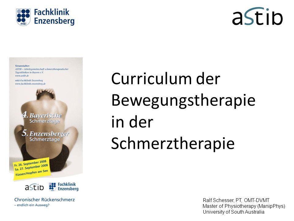 Curriculum der Bewegungstherapie in der Schmerztherapie Ralf Schesser, PT, OMT-DVMT Master of Physiotherapy (ManipPhys) University of South Australia