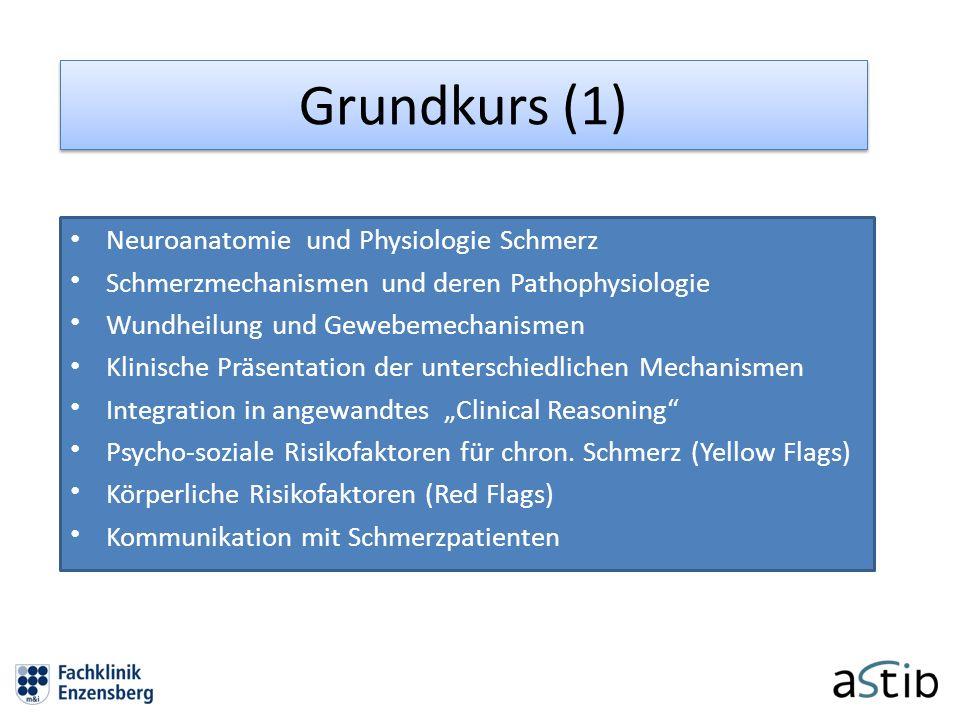 Grundkurs (1) Neuroanatomie und Physiologie Schmerz Schmerzmechanismen und deren Pathophysiologie Wundheilung und Gewebemechanismen Klinische Präsenta
