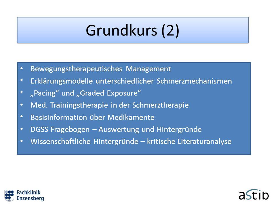 Grundkurs (2) Bewegungstherapeutisches Management Erklärungsmodelle unterschiedlicher Schmerzmechanismen Pacing und Graded Exposure Med. Trainingsther