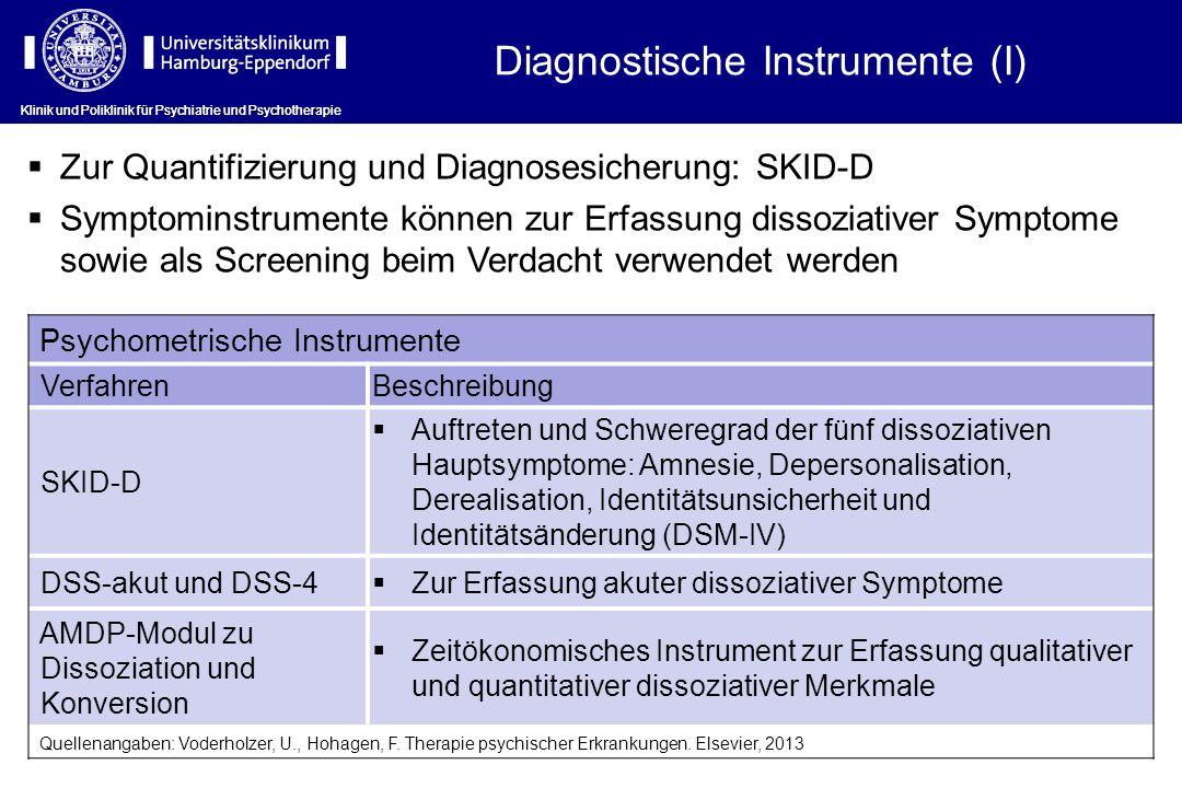 Klinik und Poliklinik für Psychiatrie und Psychotherapie Diagnostische Instrumente (I) Zur Quantifizierung und Diagnosesicherung: SKID-D Symptominstru
