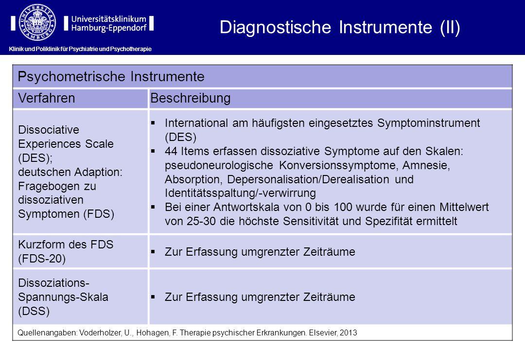 Klinik und Poliklinik für Psychiatrie und Psychotherapie Diagnostische Instrumente (II) Psychometrische Instrumente Verfahren Beschreibung Dissociativ
