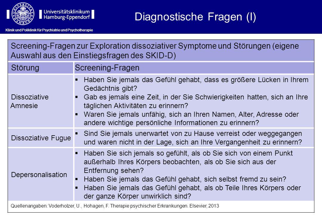 Klinik und Poliklinik für Psychiatrie und Psychotherapie Screening-Fragen zur Exploration dissoziativer Symptome und Störungen (eigene Auswahl aus den