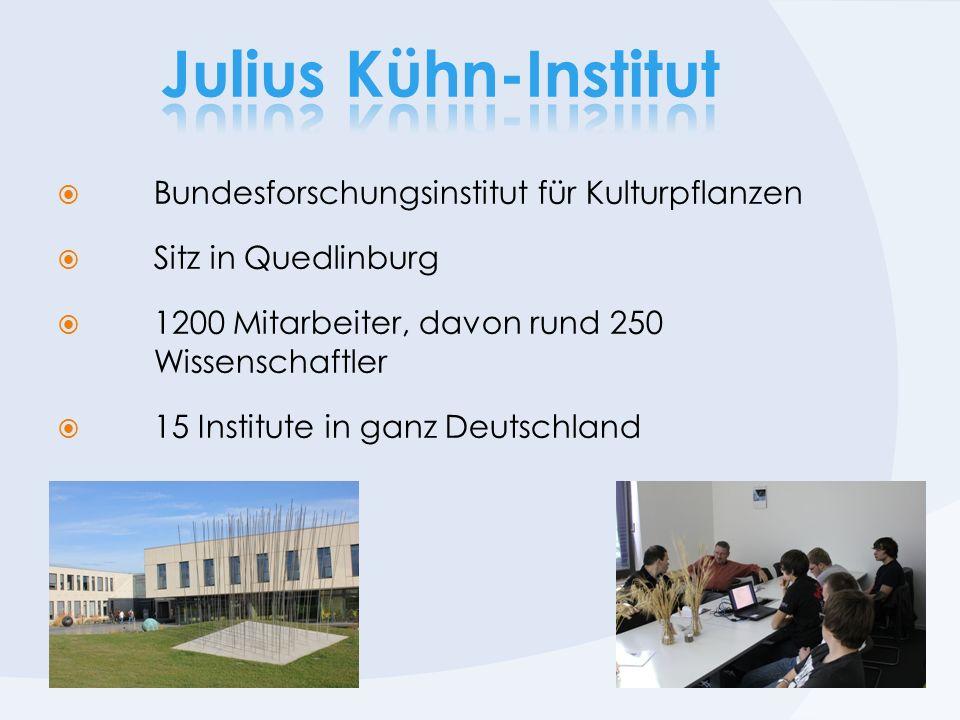 Bundesforschungsinstitut für Kulturpflanzen Sitz in Quedlinburg 1200 Mitarbeiter, davon rund 250 Wissenschaftler 15 Institute in ganz Deutschland