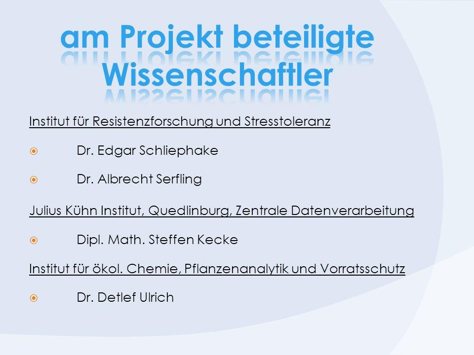 Institut für Resistenzforschung und Stresstoleranz Dr. Edgar Schliephake Dr. Albrecht Serfling Julius Kühn Institut, Quedlinburg, Zentrale Datenverarb