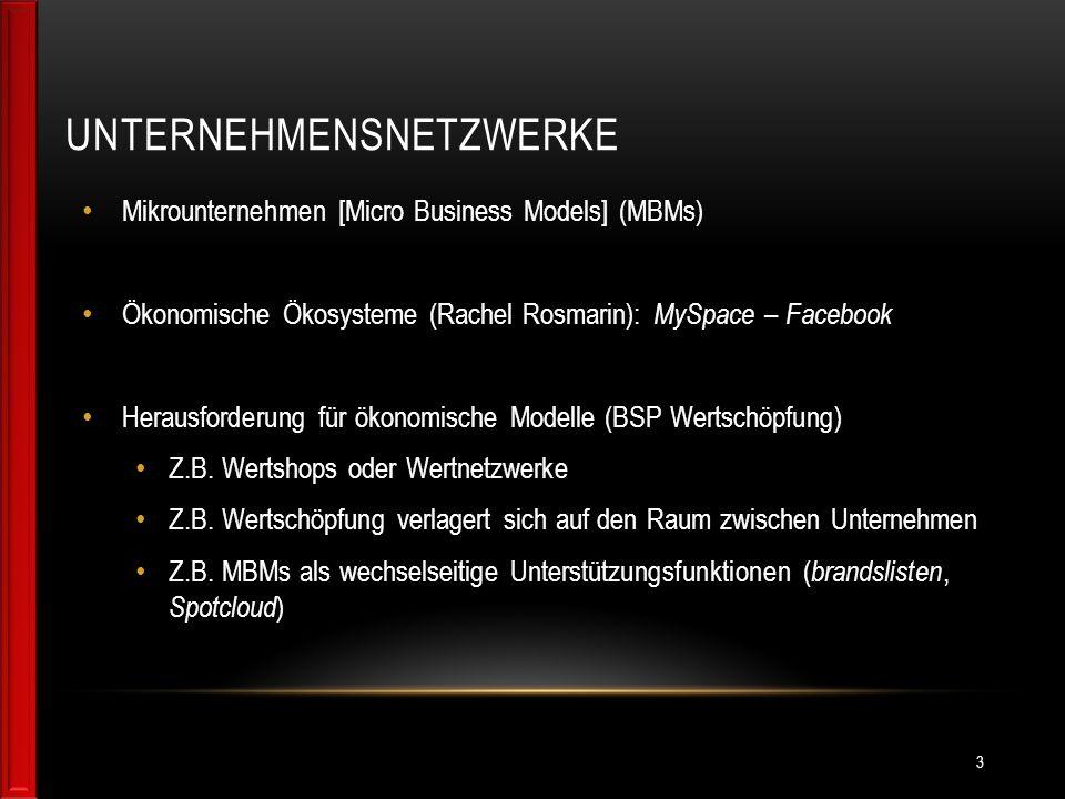 UNTERNEHMENSNETZWERKE Mikrounternehmen [Micro Business Models] (MBMs) Ökonomische Ökosysteme (Rachel Rosmarin): MySpace – Facebook Herausforderung für ökonomische Modelle (BSP Wertschöpfung) Z.B.