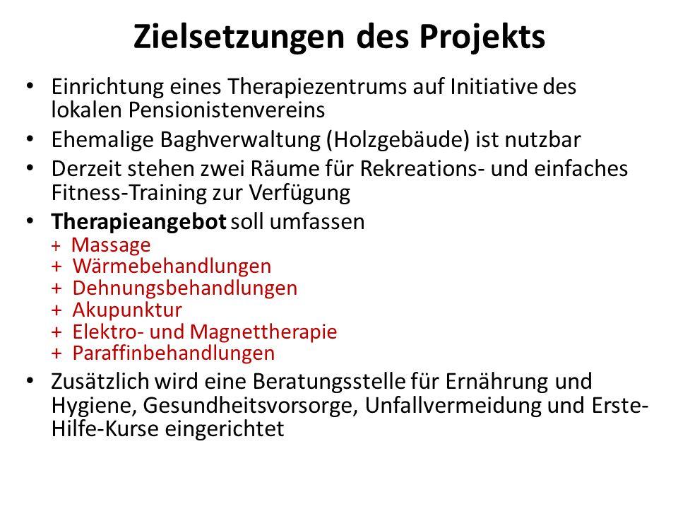 Zielsetzungen des Projekts Einrichtung eines Therapiezentrums auf Initiative des lokalen Pensionistenvereins Ehemalige Baghverwaltung (Holzgebäude) is