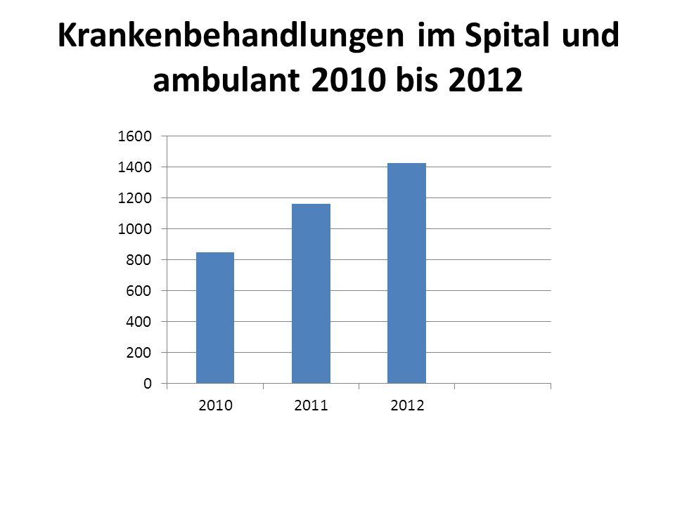 Krankenbehandlungen im Spital und ambulant 2010 bis 2012