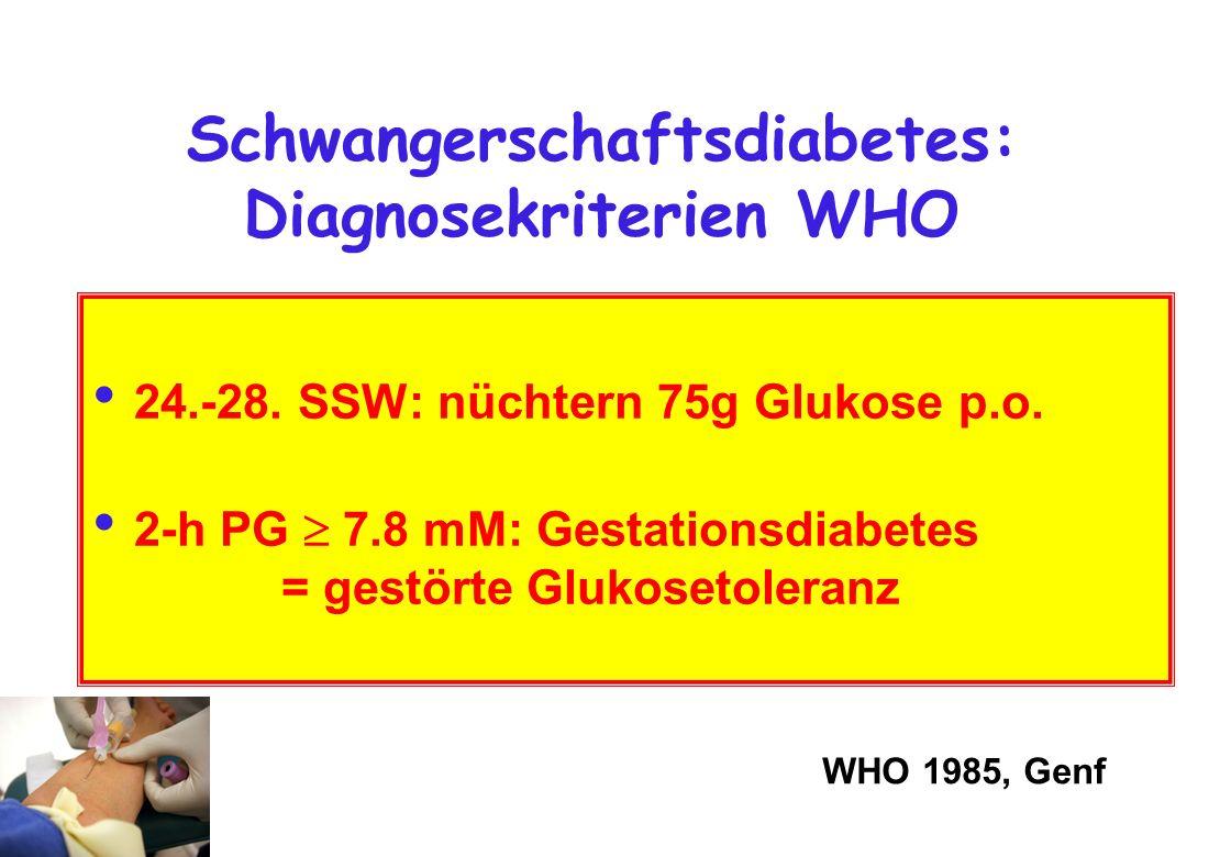 Schwangerschaftsdiabetes: Diagnosekriterien WHO 24.-28. SSW: nüchtern 75g Glukose p.o. 2-h PG 7.8 mM: Gestationsdiabetes = gestörte Glukosetoleranz WH