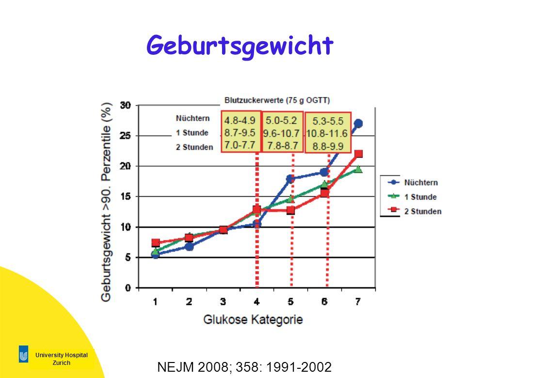 University Hospital Zurich Geburtsgewicht NEJM 2008; 358: 1991-2002