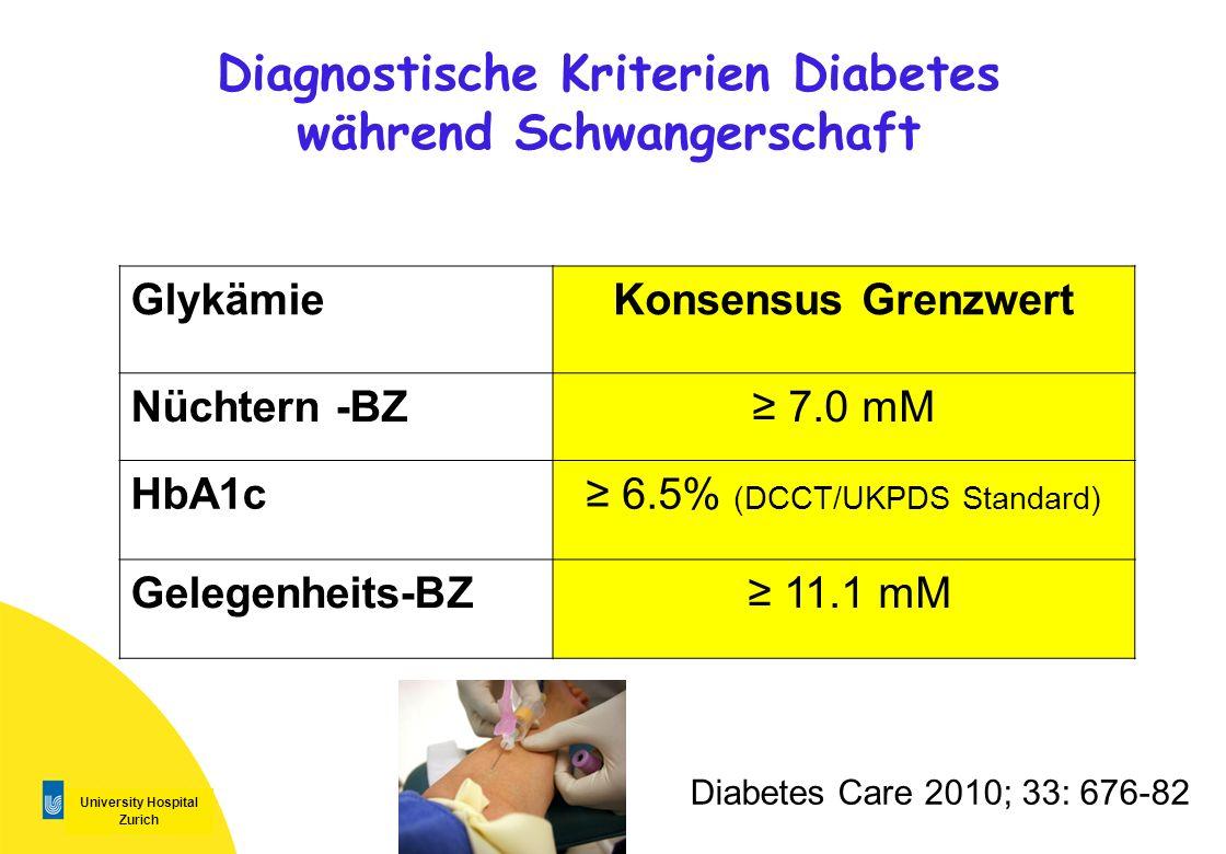University Hospital Zurich Diagnostische Kriterien Diabetes während Schwangerschaft Diabetes Care 2010; 33: 676-82 GlykämieKonsensus Grenzwert Nüchter