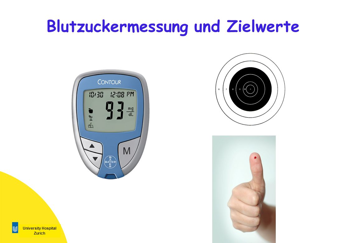 University Hospital Zurich Blutzuckermessung und Zielwerte