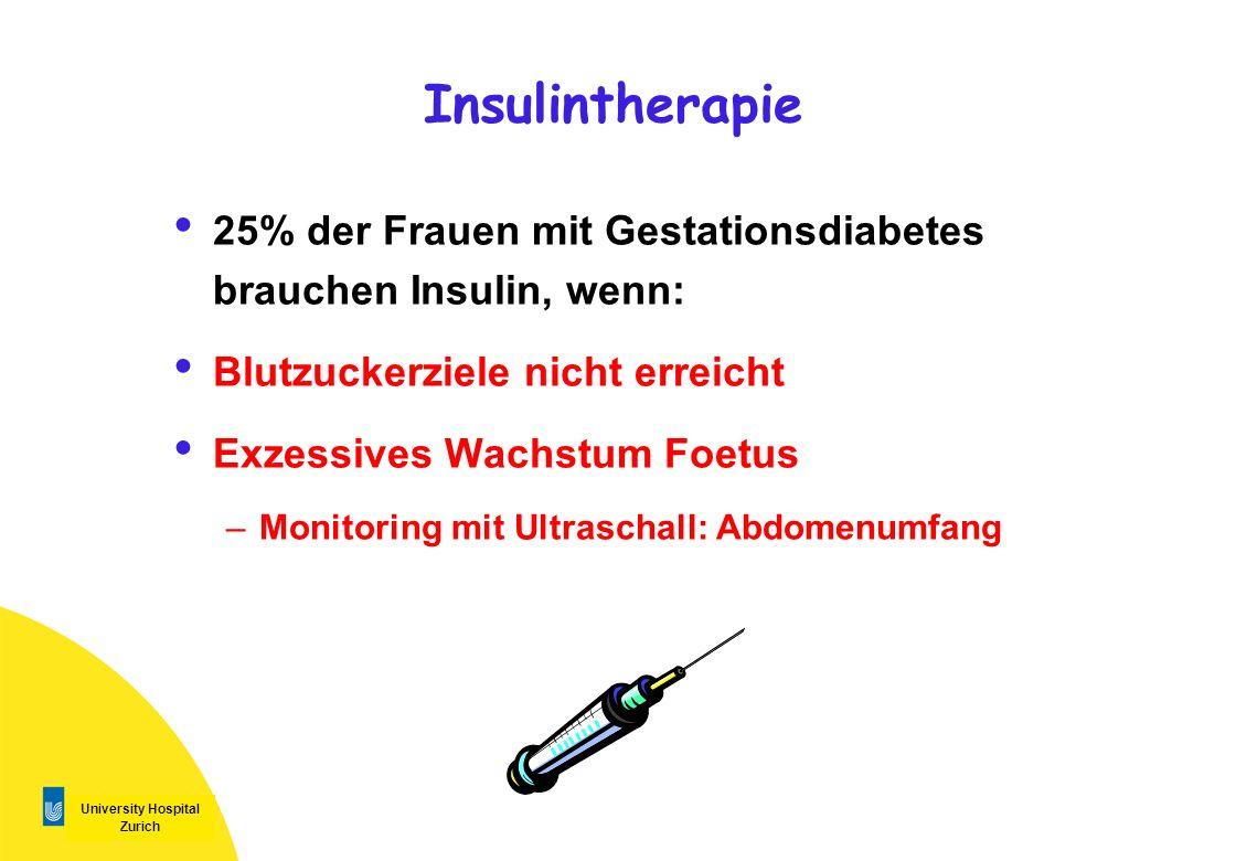University Hospital Zurich Insulintherapie 25% der Frauen mit Gestationsdiabetes brauchen Insulin, wenn: Blutzuckerziele nicht erreicht Exzessives Wac