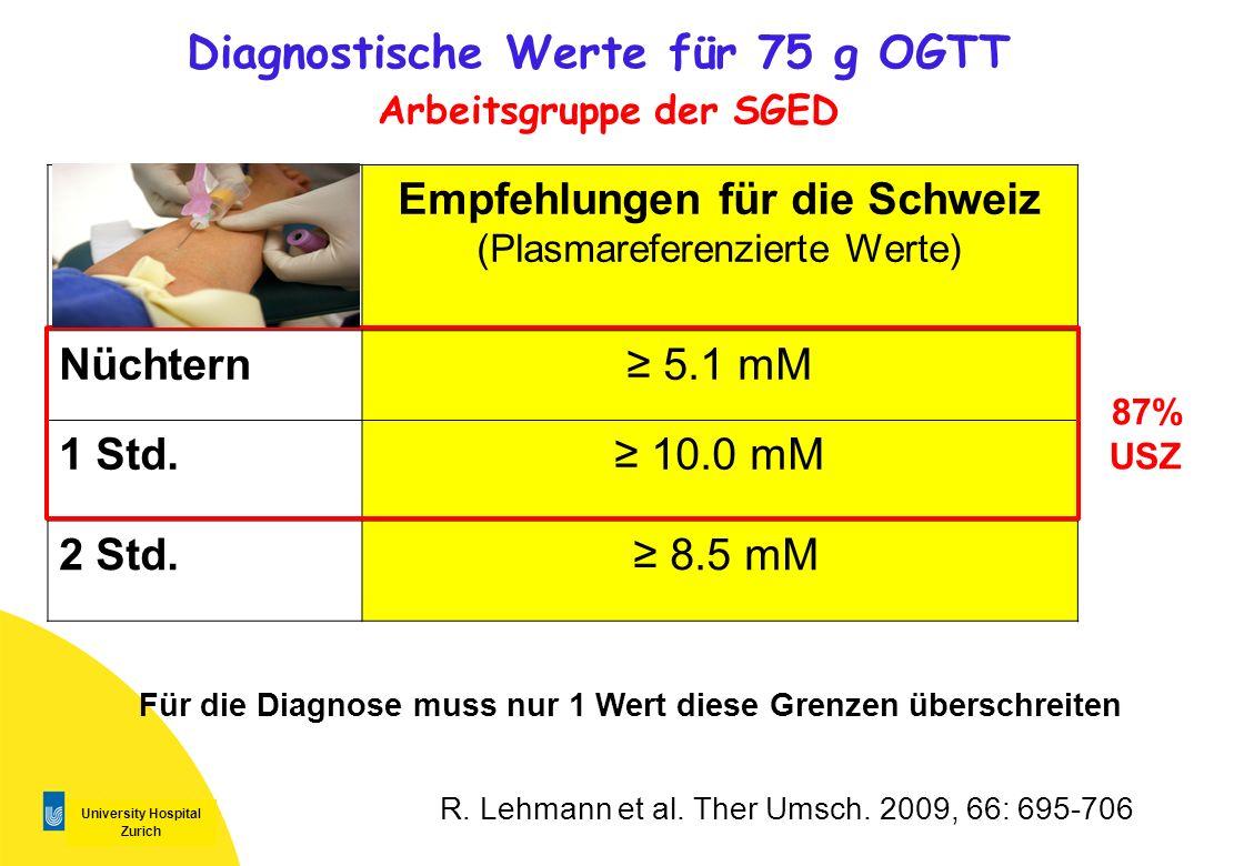 University Hospital Zurich Diagnostische Werte für 75 g OGTT Arbeitsgruppe der SGED Empfehlungen für die Schweiz (Plasmareferenzierte Werte) Nüchtern
