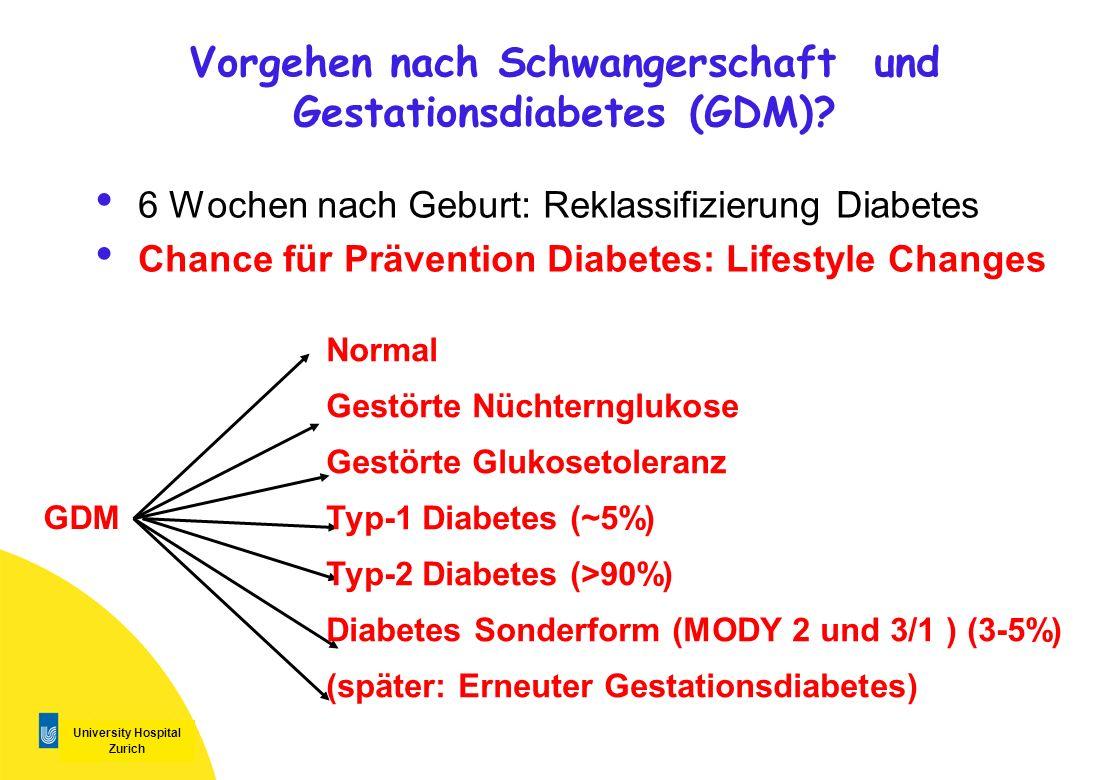 University Hospital Zurich 6 Wochen nach Geburt: Reklassifizierung Diabetes Chance für Prävention Diabetes: Lifestyle Changes Vorgehen nach Schwangers