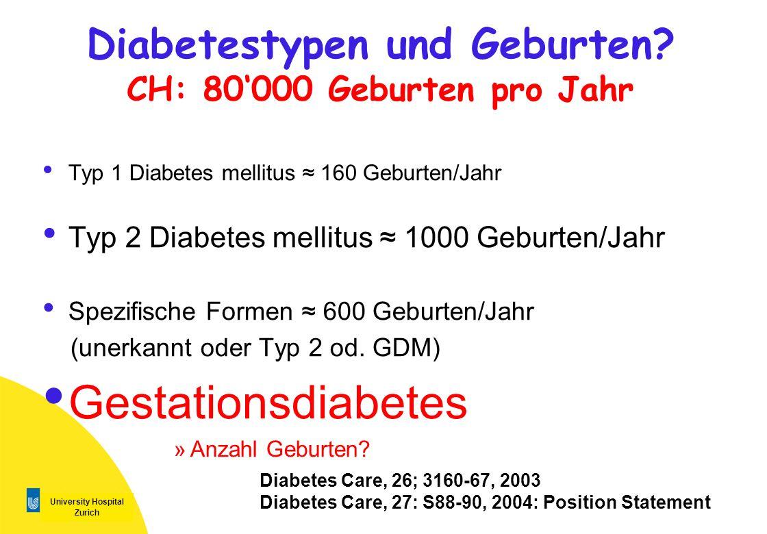 University Hospital Zurich Diabetestypen und Geburten? CH: 80000 Geburten pro Jahr Typ 1 Diabetes mellitus 160 Geburten/Jahr Typ 2 Diabetes mellitus 1