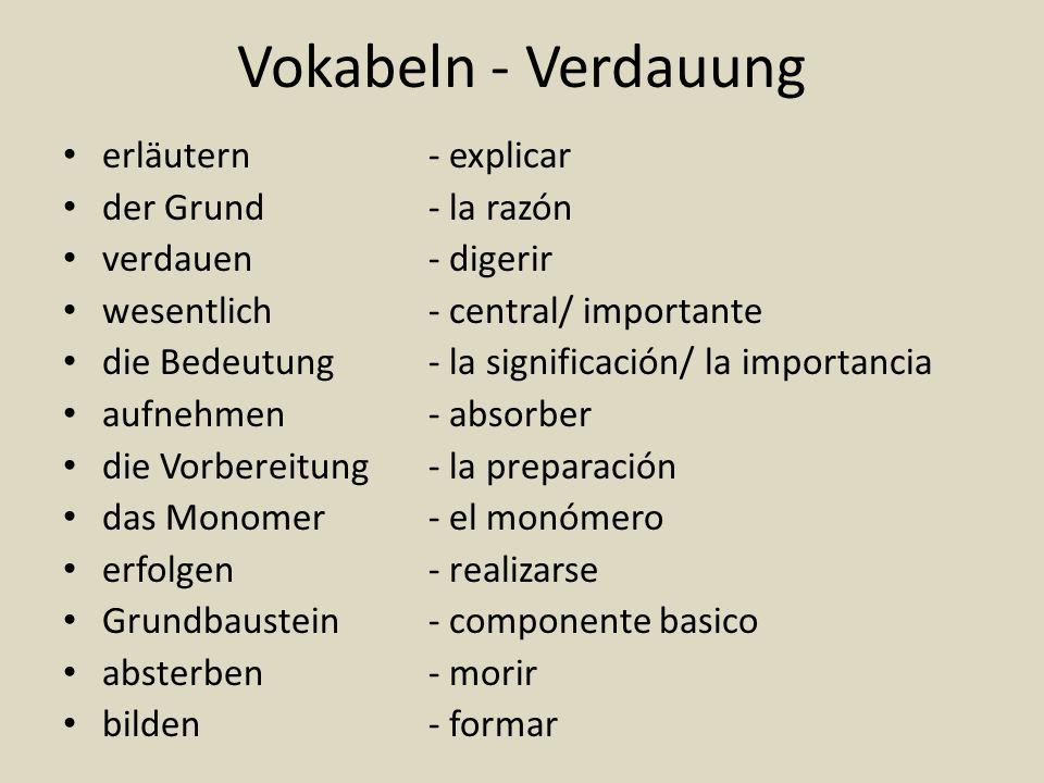Vokabeln - Verdauung erläutern- explicar der Grund- la razón verdauen- digerir wesentlich- central/ importante die Bedeutung- la significación/ la imp