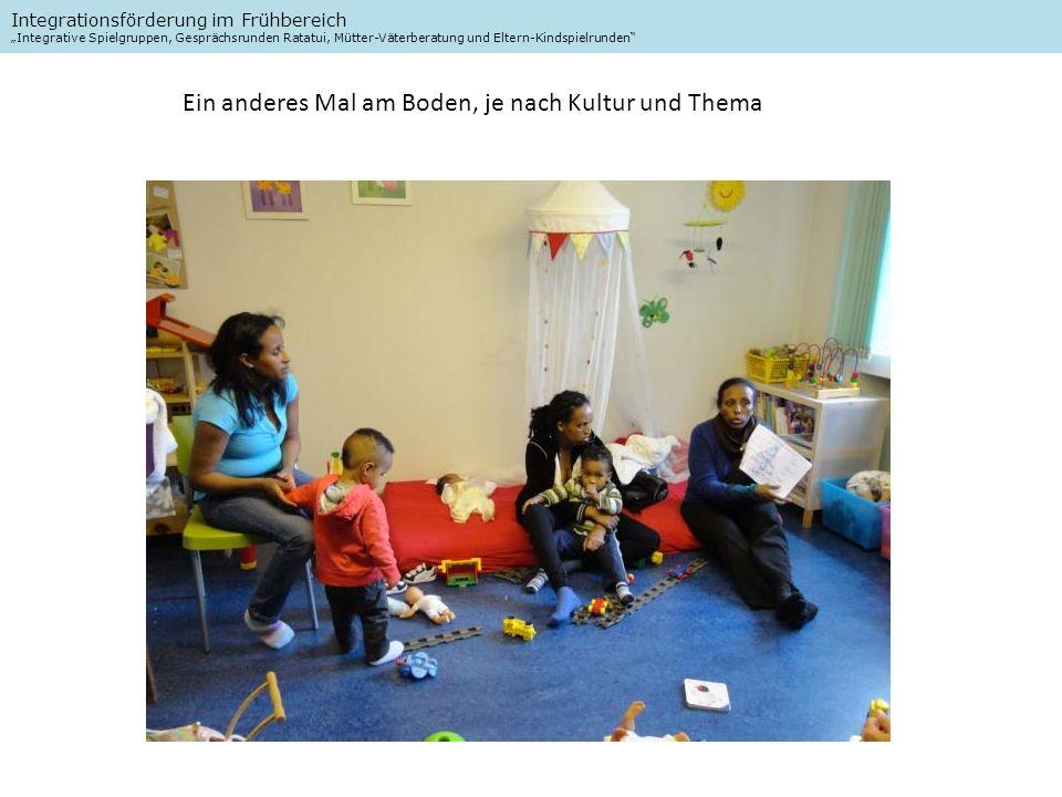 Integrationsförderung im Frühbereich Integrative Spielgruppen, Gesprächsrunden Ratatui, Mütter-Väterberatung und Eltern-Kindspielrunden Ein anderes Mal am Boden, je nach Kultur und Thema