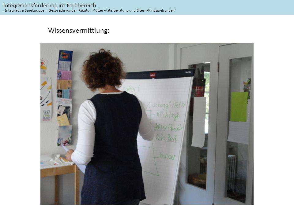 Integrationsförderung im Frühbereich Integrative Spielgruppen, Gesprächsrunden Ratatui, Mütter-Väterberatung und Eltern-Kindspielrunden Wissensvermittlung: