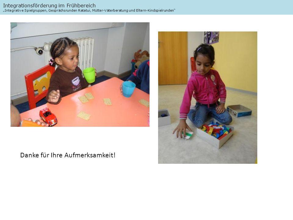 Integrationsförderung im Frühbereich Integrative Spielgruppen, Gesprächsrunden Ratatui, Mütter-Väterberatung und Eltern-Kindspielrunden Danke für Ihre Aufmerksamkeit!