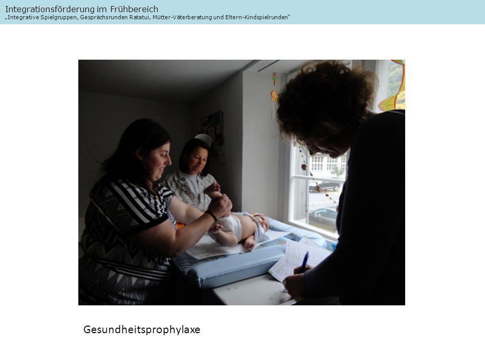Integrationsförderung im Frühbereich Integrative Spielgruppen, Gesprächsrunden Ratatui, Mütter-Väterberatung und Eltern-Kindspielrunden Gesundheitsprophylaxe