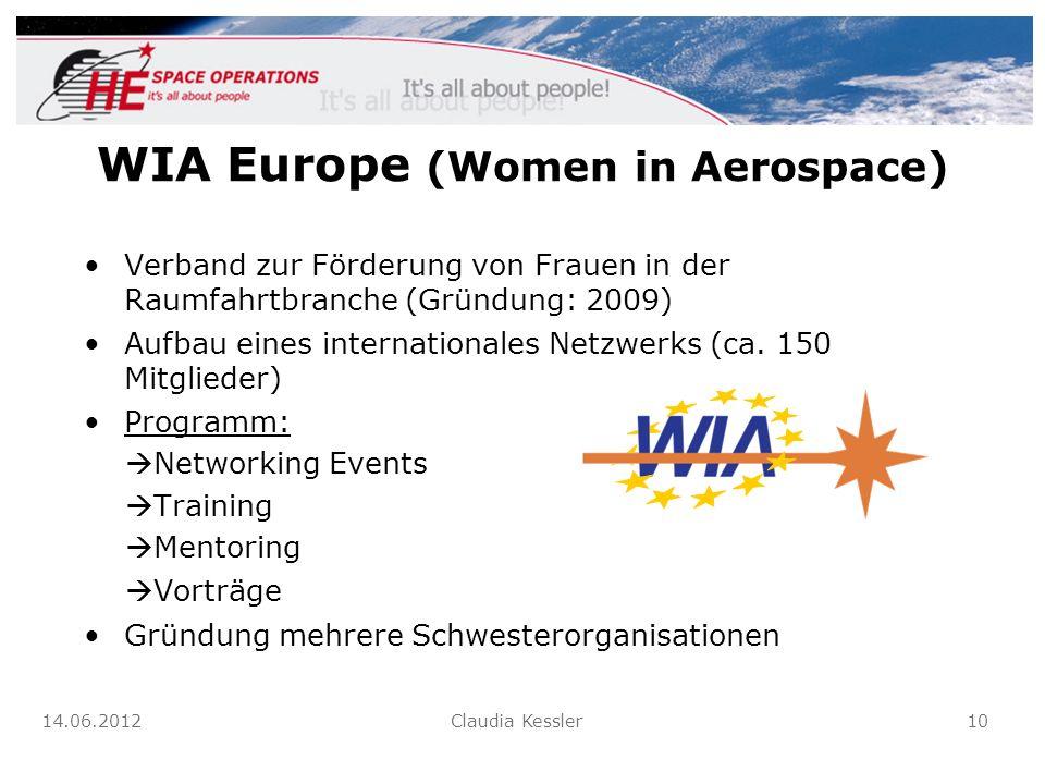 WIA Europe (Women in Aerospace) Verband zur Förderung von Frauen in der Raumfahrtbranche (Gründung: 2009) Aufbau eines internationales Netzwerks (ca.