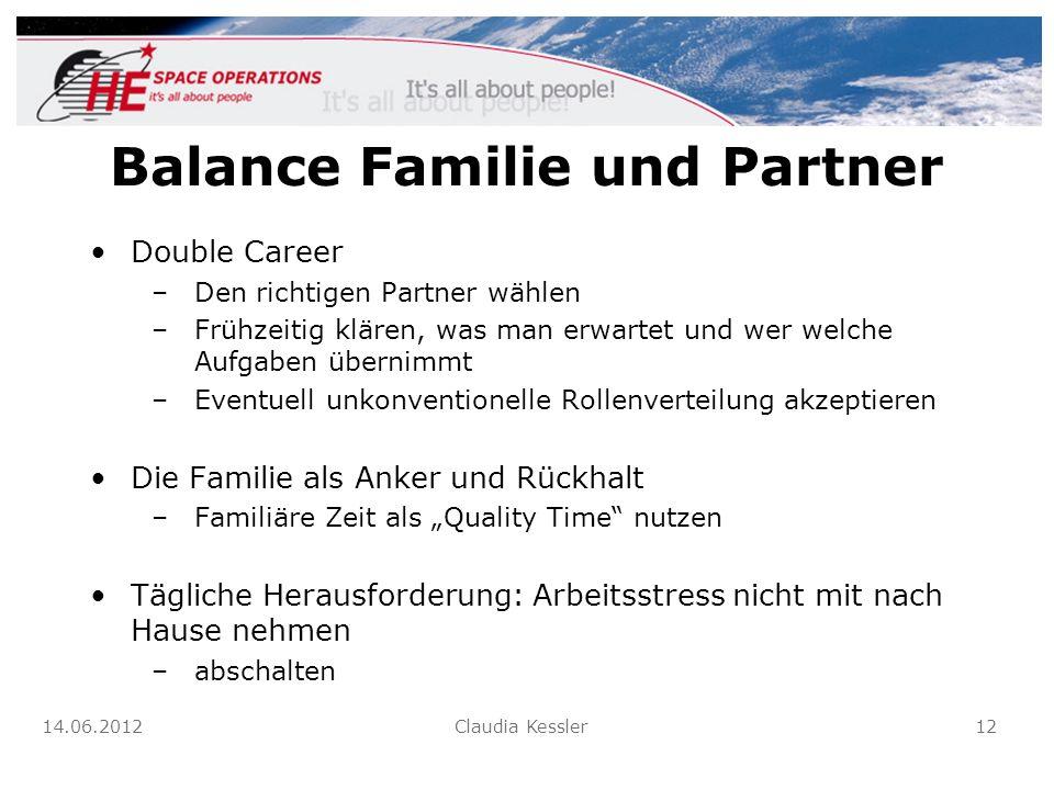 Balance Familie und Partner Double Career –Den richtigen Partner wählen –Frühzeitig klären, was man erwartet und wer welche Aufgaben übernimmt –Eventu