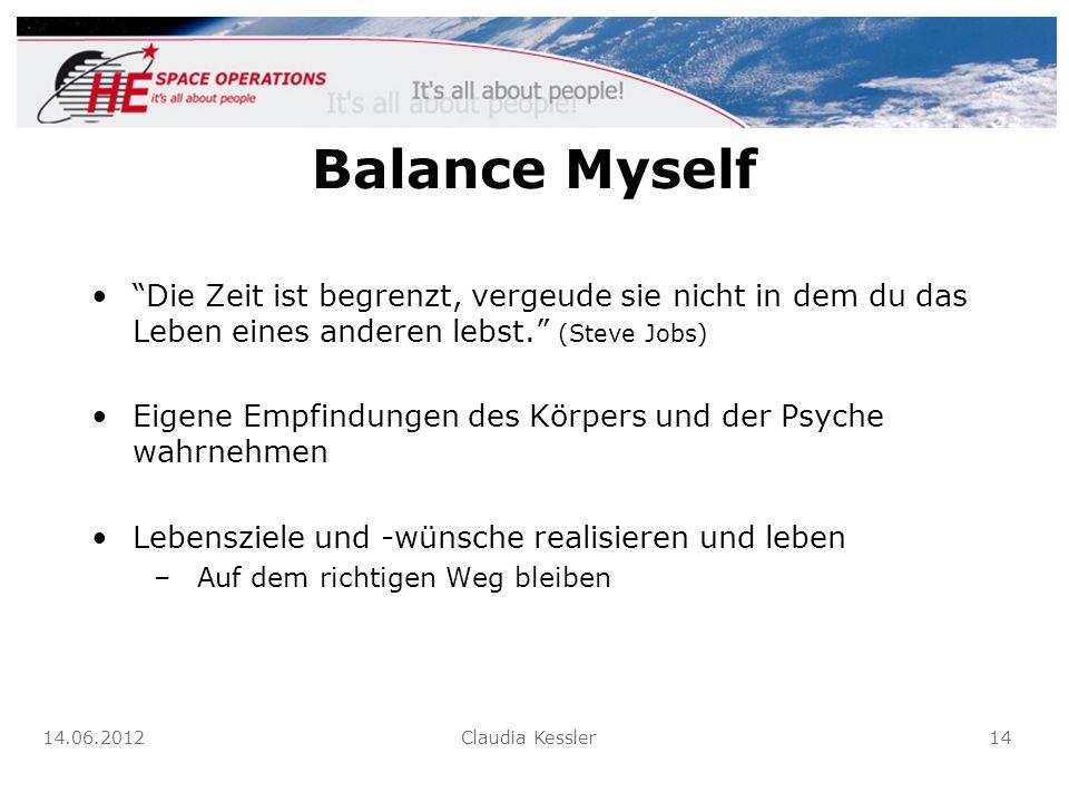 Balance Myself Die Zeit ist begrenzt, vergeude sie nicht in dem du das Leben eines anderen lebst. (Steve Jobs) Eigene Empfindungen des Körpers und der