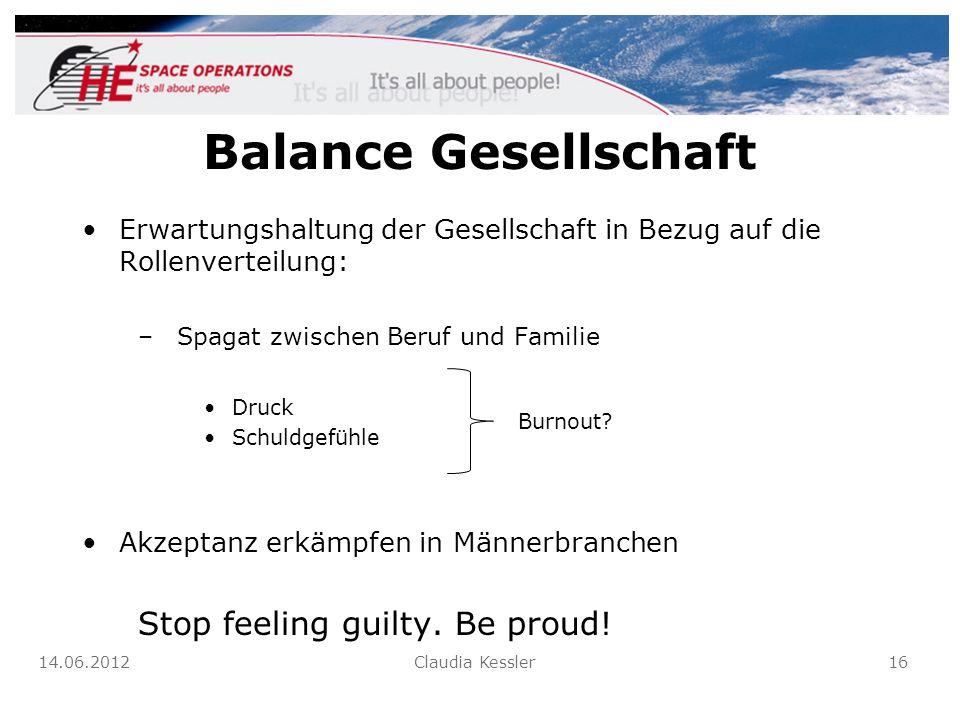 Balance Gesellschaft Erwartungshaltung der Gesellschaft in Bezug auf die Rollenverteilung: –Spagat zwischen Beruf und Familie Druck Schuldgefühle Akze