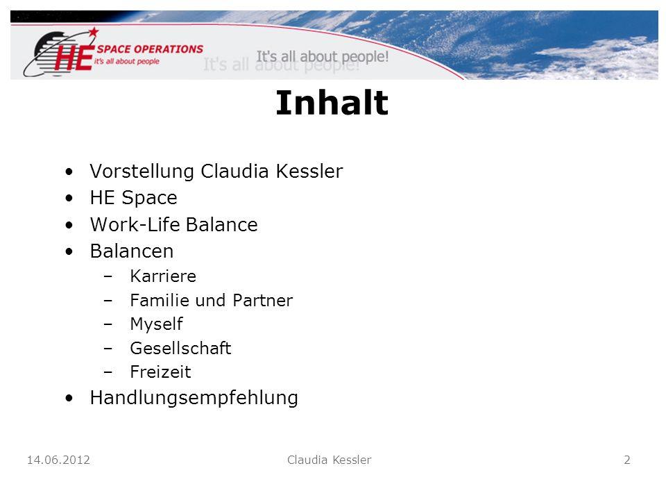 Inhalt Vorstellung Claudia Kessler HE Space Work-Life Balance Balancen –Karriere –Familie und Partner –Myself –Gesellschaft –Freizeit Handlungsempfehl
