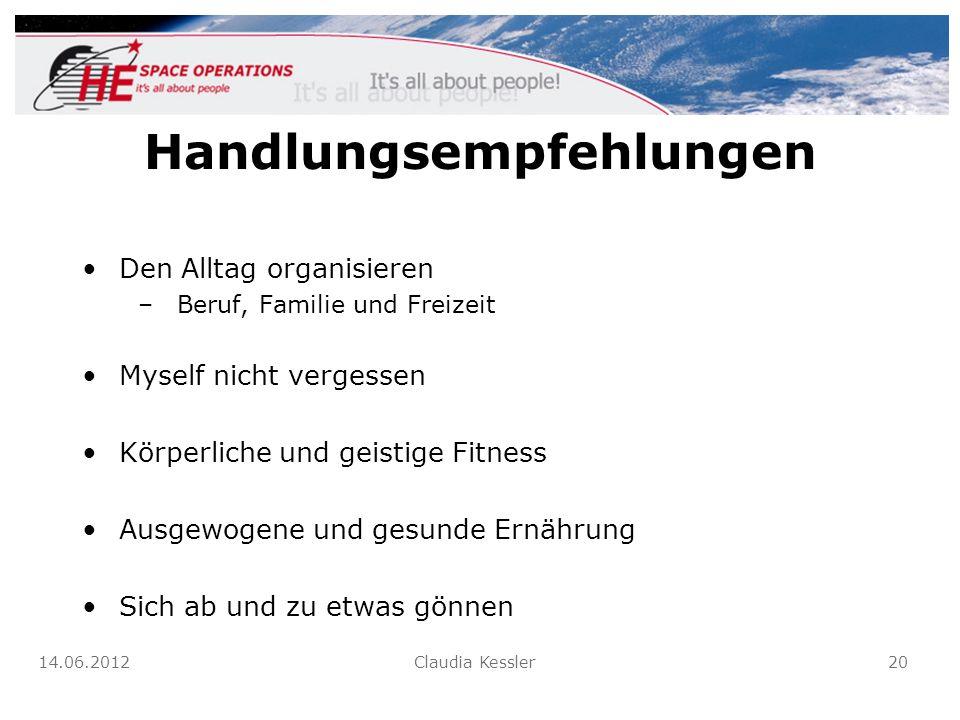 Handlungsempfehlungen Den Alltag organisieren –Beruf, Familie und Freizeit Myself nicht vergessen Körperliche und geistige Fitness Ausgewogene und ges