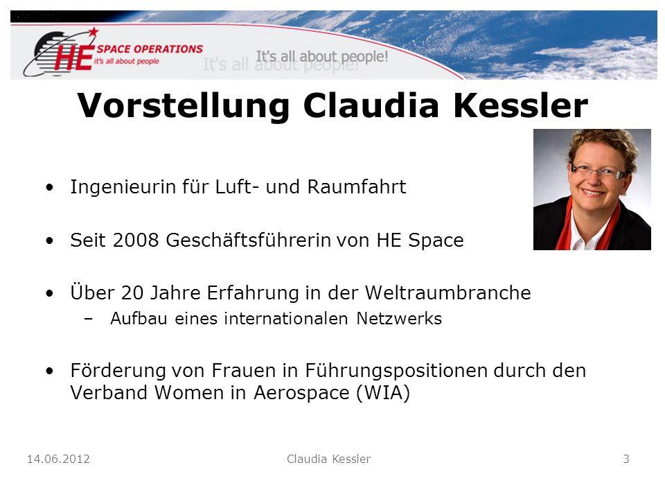 Vorstellung Claudia Kessler Ingenieurin für Luft- und Raumfahrt Seit 2008 Geschäftsführerin von HE Space Über 20 Jahre Erfahrung in der Weltraumbranch
