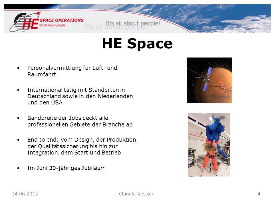 HE Space Personalvermittlung für Luft- und Raumfahrt International tätig mit Standorten in Deutschland sowie in den Niederlanden und den USA Bandbreit