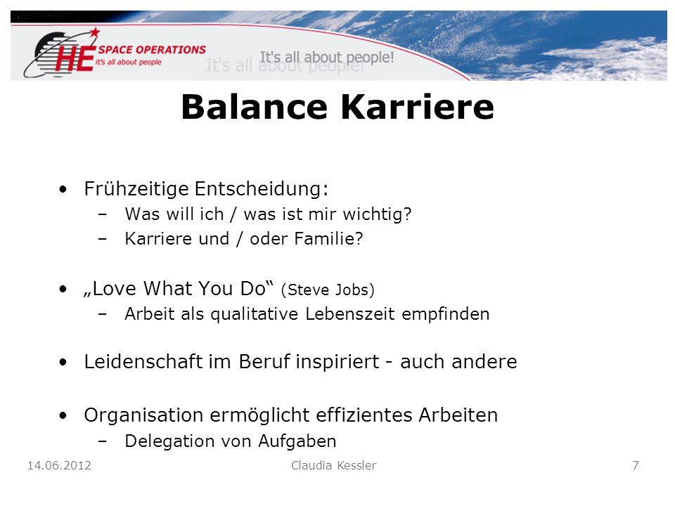 Balance Karriere Frühzeitige Entscheidung: –Was will ich / was ist mir wichtig? –Karriere und / oder Familie? Love What You Do (Steve Jobs) –Arbeit al