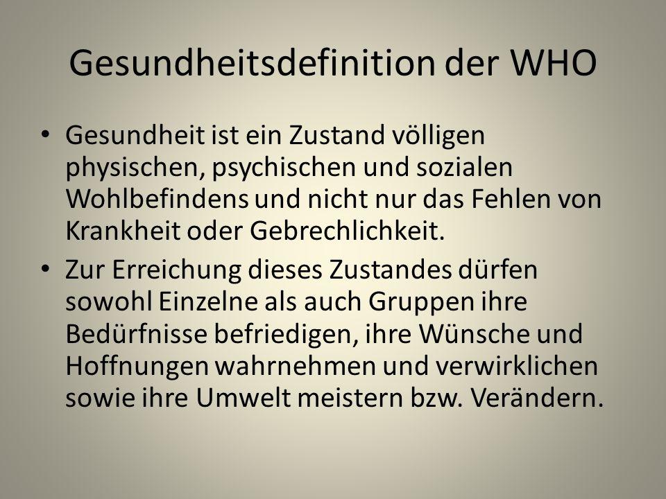 Gesundheitsdefinition der WHO Gesundheit ist ein Zustand völligen physischen, psychischen und sozialen Wohlbefindens und nicht nur das Fehlen von Krankheit oder Gebrechlichkeit.