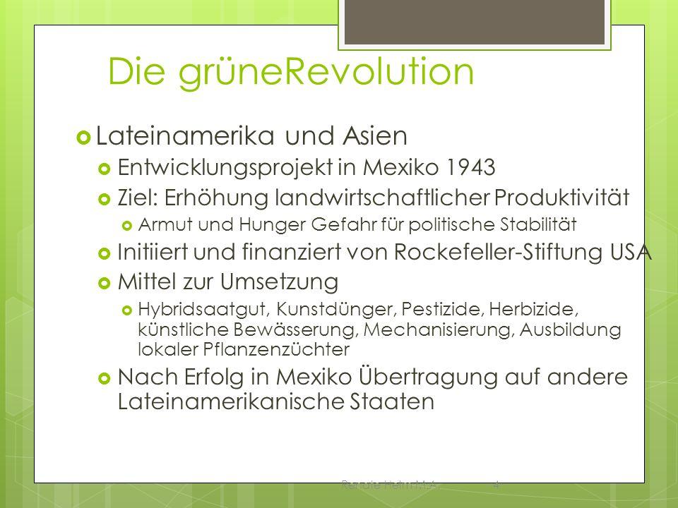 Renate Helm M.A.4 Die grüneRevolution Lateinamerika und Asien Entwicklungsprojekt in Mexiko 1943 Ziel: Erhöhung landwirtschaftlicher Produktivität Arm