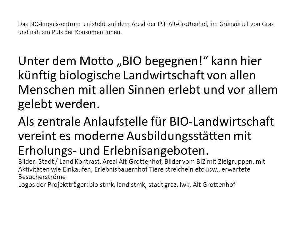 Das BIO-Impulszentrum entsteht auf dem Areal der LSF Alt-Grottenhof, im Grüngürtel von Graz und nah am Puls der KonsumentInnen.