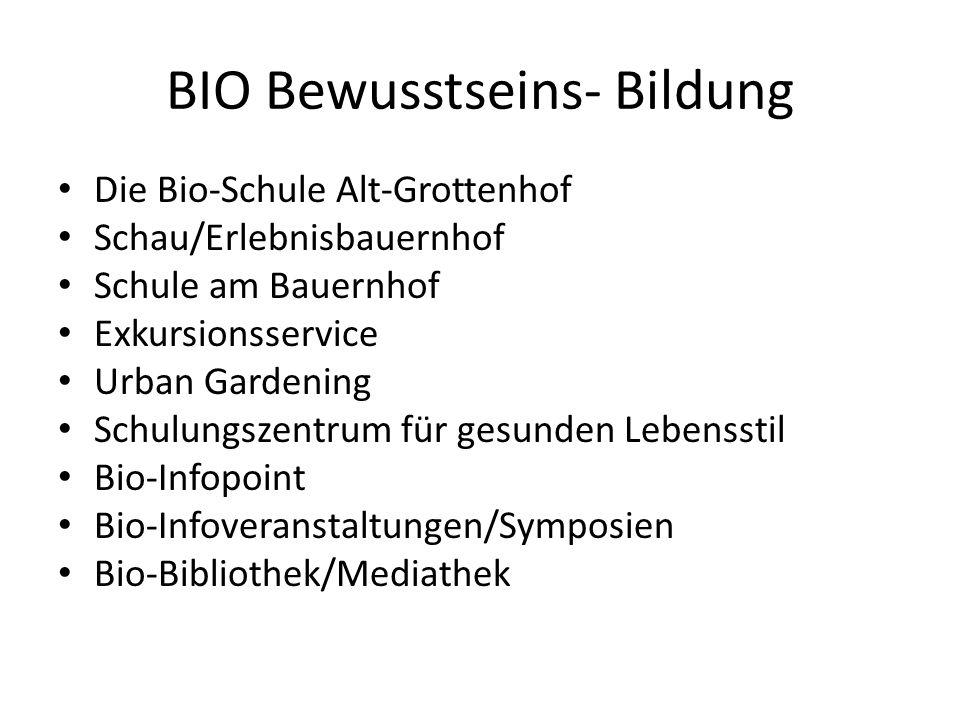 BIO Bewusstseins- Bildung Die Bio-Schule Alt-Grottenhof Schau/Erlebnisbauernhof Schule am Bauernhof Exkursionsservice Urban Gardening Schulungszentrum für gesunden Lebensstil Bio-Infopoint Bio-Infoveranstaltungen/Symposien Bio-Bibliothek/Mediathek