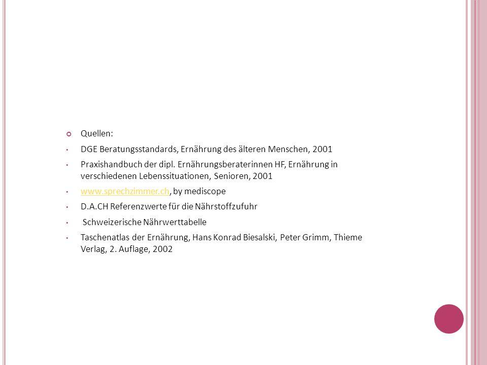 Quellen: DGE Beratungsstandards, Ernährung des älteren Menschen, 2001 Praxishandbuch der dipl. Ernährungsberaterinnen HF, Ernährung in verschiedenen L
