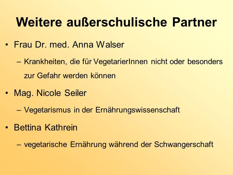 Weitere außerschulische Partner Frau Dr. med. Anna Walser –Krankheiten, die für VegetarierInnen nicht oder besonders zur Gefahr werden können Mag. Nic