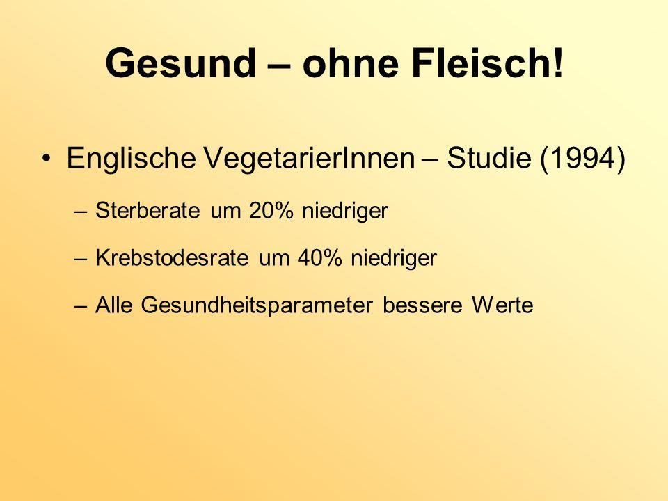 Gesund – ohne Fleisch! Englische VegetarierInnen – Studie (1994) –Sterberate um 20% niedriger –Krebstodesrate um 40% niedriger –Alle Gesundheitsparame