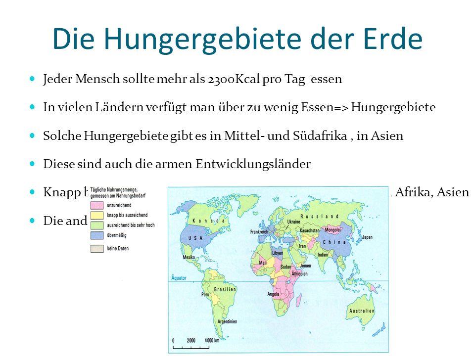 Die Hungergebiete der Erde Jeder Mensch sollte mehr als 2300Kcal pro Tag essen In vielen Ländern verfügt man über zu wenig Essen=> Hungergebiete Solch