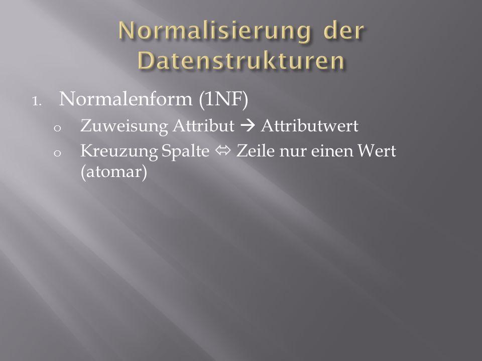 1. Normalenform (1NF) o Zuweisung Attribut Attributwert o Kreuzung Spalte Zeile nur einen Wert (atomar)