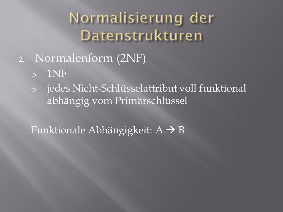 2. Normalenform (2NF) o 1NF o jedes Nicht-Schlüsselattribut voll funktional abhängig vom Primärschlüssel Funktionale Abhängigkeit: A B