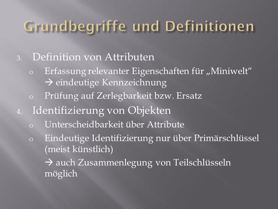 3. Definition von Attributen o Erfassung relevanter Eigenschaften für Miniwelt eindeutige Kennzeichnung o Prüfung auf Zerlegbarkeit bzw. Ersatz 4. Ide